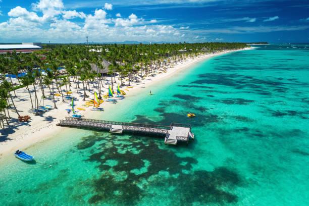 Luftbild-Drohne Aussicht auf Caribbean resort Bavaro, Punta Cana, Dominikanische Republik – Foto