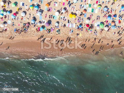 istock Aerial drone view of Cascais beach, Parede civil parish, Greater Lisbon, Portugal, Atlantic Ocean shore 1046273598
