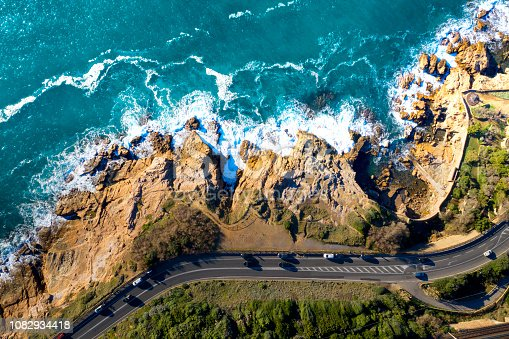 Aerial Drone view of coastal road in Tuscany, Italy
