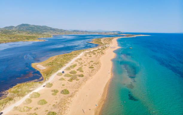 Luft-Drohnenansicht von Halikounas Strand und Korission-See, Korfu-Insel, Ionisches Meer, Griechenland – Foto