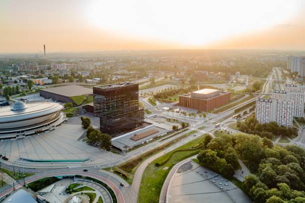 Aerial drone view of Katowice at sunrise. Katowice is the largest city and capital of Silesia voivodeship stock photo