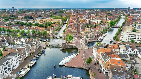 istock Aerial drone view of Leiden town cityscape from above, typical Dutch city skyline with canals and houses, Holland, Netherlands 1177893431