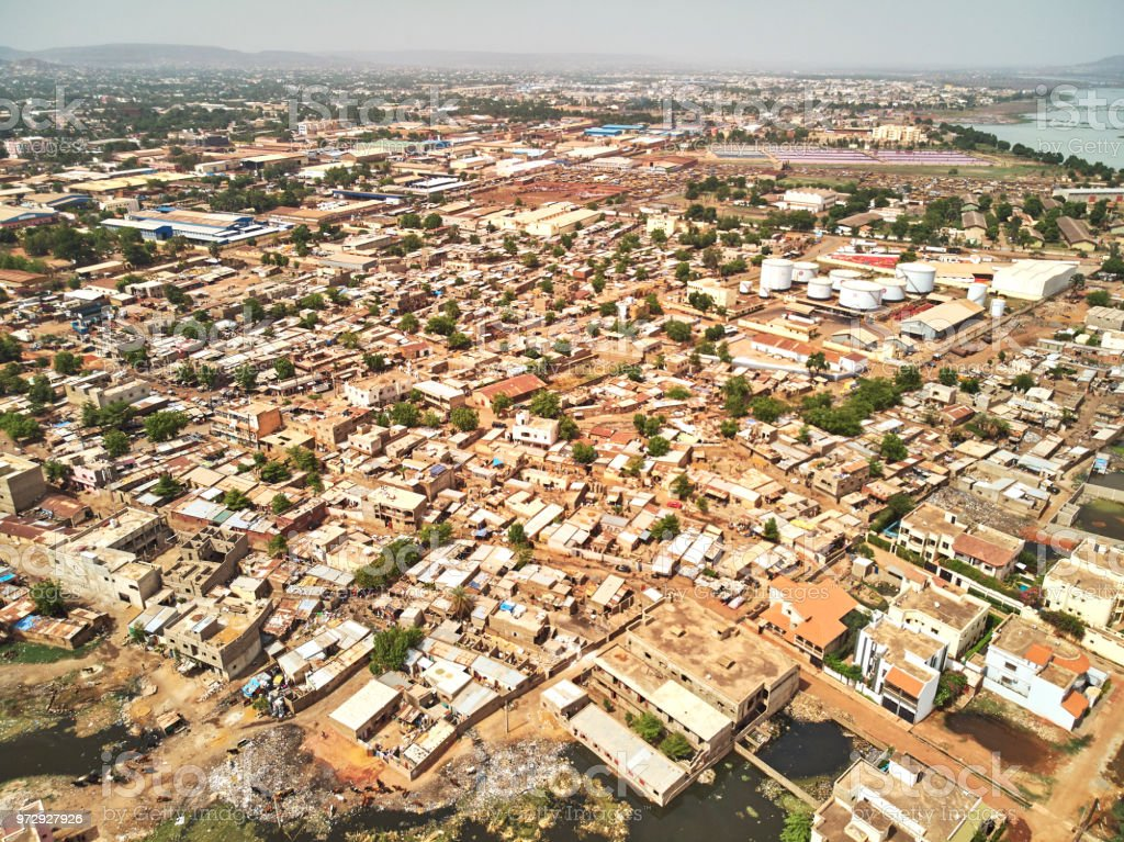 Aerial Drone view of niarela Quizambougou Niger Bamako Mali stock photo