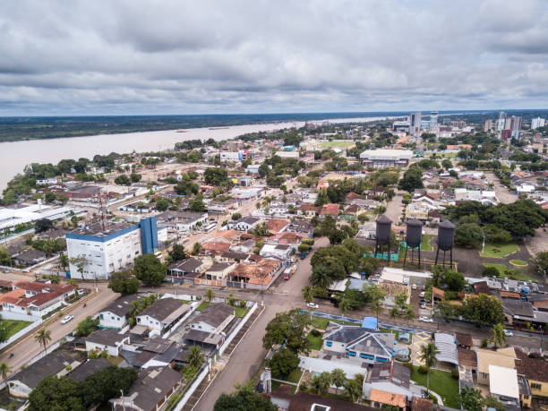 Aerial drone view of Porto Velho city center streets with