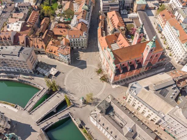 Luft-Drohnenansicht von Preseren Squere und Triple Bridge über den Fluss Ljubljanica,Tromostovje, Ljubljana, Slowenien. Leere Straßen während der sozialen Entsagungsmaßnahmen des Coronavirus – Foto
