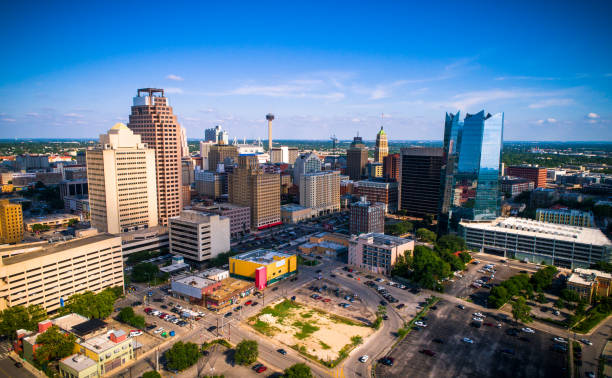 Aerial drone view of San Antonio , Texas with Space Needle , Stadium and entire Downtown Skyline stock photo