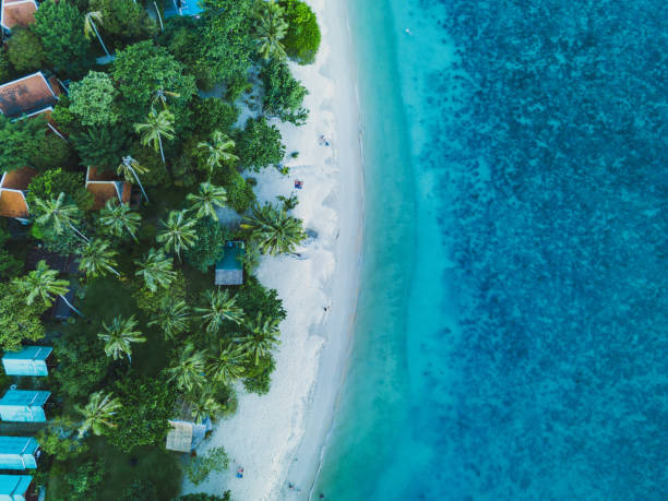 aerial drone view of the beach vacation on the beach aerial landscape, drone view of paradise island coast koh chang stock pictures, royalty-free photos & images