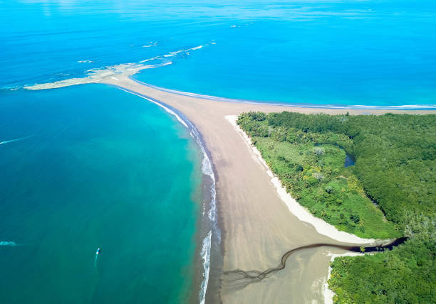 Aerial Drone View of the Whale's Tail at the Marino Ballena National Park in Uvita, Costa Rica stock photo