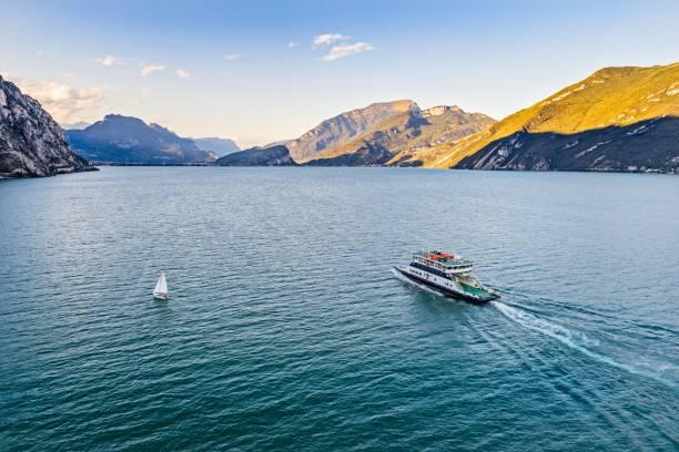 aerial drone view on car ferry - ferry imagens e fotografias de stock