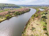 istock Aerial drone view over Vistula river near Cracow in Poland 1147342775