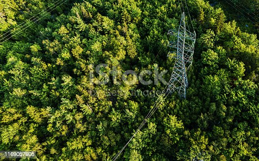 Aerial view of a high voltage power pylon.