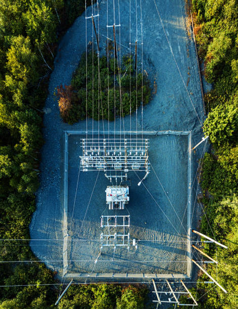Aerial Drone View: Power Sub Station stock photo