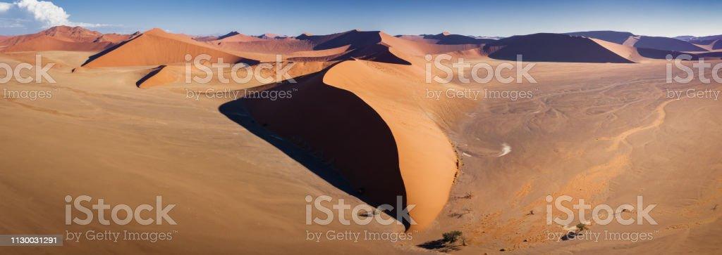 Aerial Dune 45 Panorama Namibia Namib-Naukluft National Park stock photo