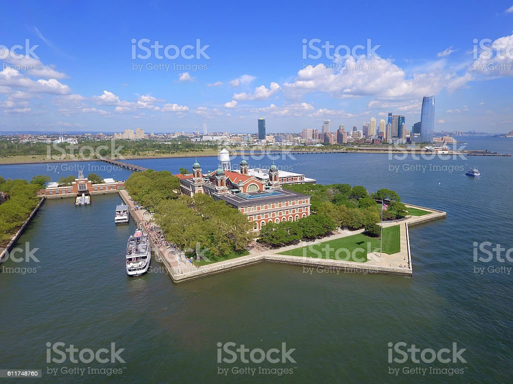 Aerial Ellis Island New York stock photo