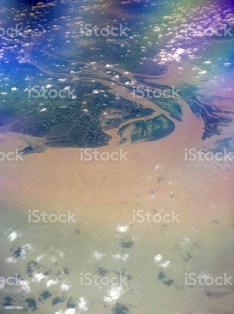 Aerial Erosion Sediment Huang He Yellow River East China Sea stock photo