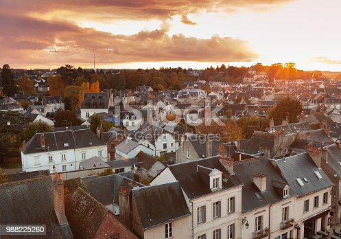 istock Aerial evening cityscape of Amboise town 988225260