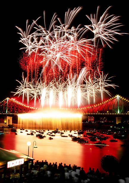 Aerial fireworks display on the Story Bridge in Brisbane Australia stock photo