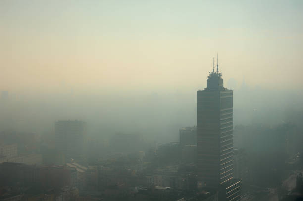 Aerial foggy view of Milan - pollution issue Aerial foggy view of Milan - pollution issue. smog stock pictures, royalty-free photos & images