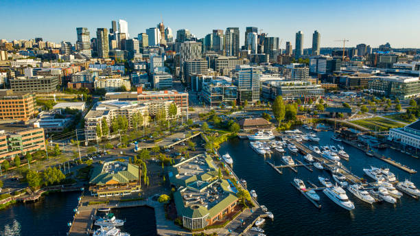 Aerial footage of the Seattle Skyline stock photo