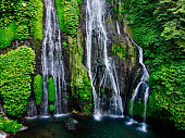 Aerial from Banyumala Twin Waterfalls in Bali Indonesia