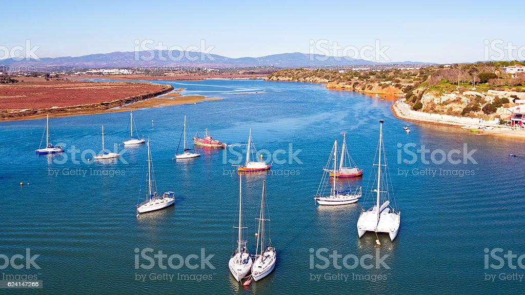 Aerial from boats in the harbor from Alvor in the - fotografia de stock