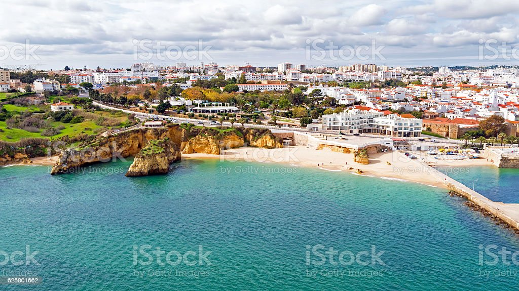 Aerial from the city Lagos in the Algarve Portugal stock photo