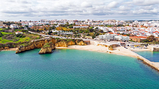 Aerial from the city Lagos in the Algarve Portugal - foto de stock