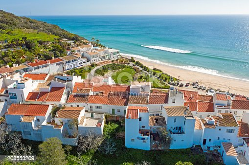 Aerial from the traditional village Salema in the Algarve Portugal
