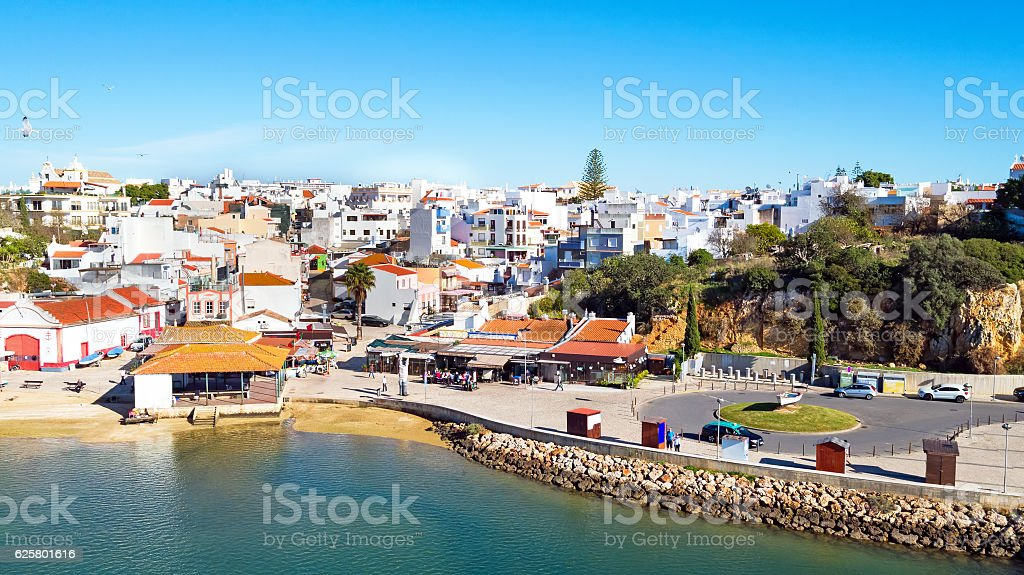 Aerial from the village Alvor in the Algarve Portugal - fotografia de stock