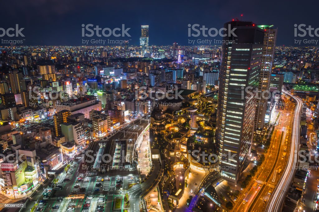 Aerial futuristic neon highrise cityscape night Namba skyscrapers Osaka Japan stock photo