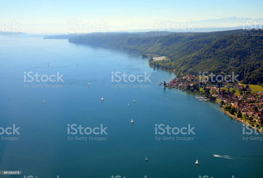 Aerial; Germany; Summer; day; sunny; bright; south; baden; wuerttemberg; bavaria; flying; plane; view; panorama; clear; blue; sky; Lake; Constance; Switzerland; suisse; german; water; distance; horizon; villages; boats; sailing; plane; top; bir'ds; bird; stock photo