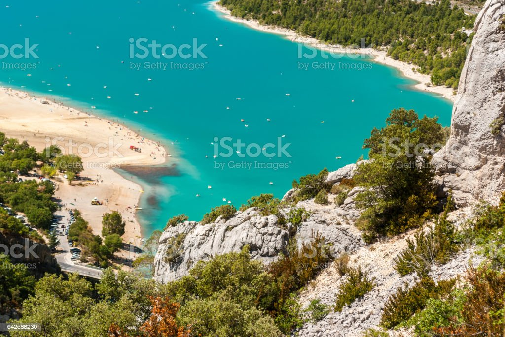Aerial glimpse of the lake of Sainte Croix in Provence (France) - Photo