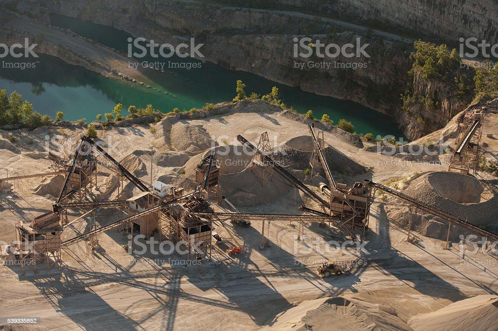 Aerial Gravel Quarry stock photo