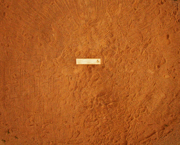 Aerial HDR Baseball Pitching Mound Slab Dirt Pole aerial High Dynamic Range (HDR) image of a baseball pitcher's dirt mound with pitching slab and many footprints. infield stock pictures, royalty-free photos & images