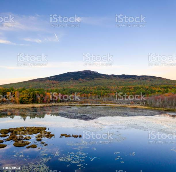 Photo of Aerial HDR view Mount Monadnock over pond