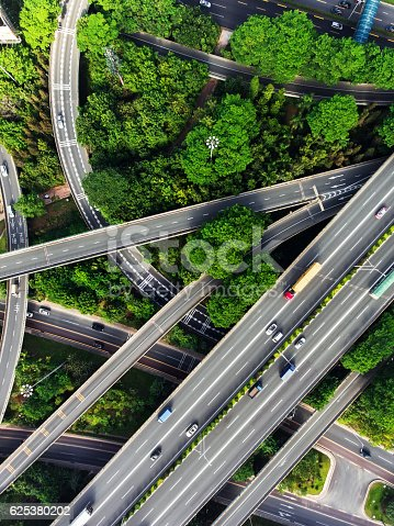 Busy highway from aerial view. Shenzhen. China