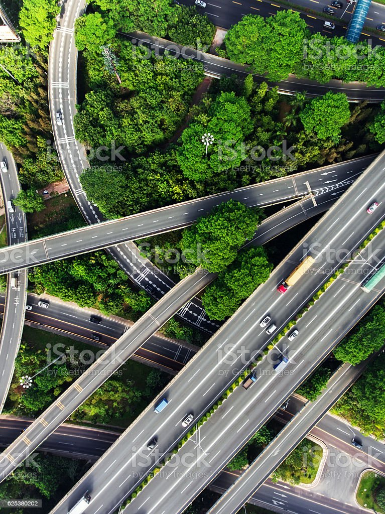 Aerial highway junction stock photo