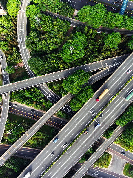 Aerial highway junction Busy highway from aerial view. Shenzhen. China overpass road stock pictures, royalty-free photos & images