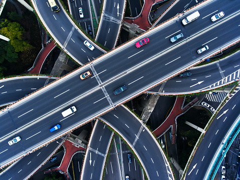Busy highway at Yanzhong Park from aerial view. Shanghai. China