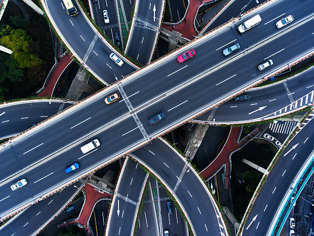 Aerial highway junction - foto de stock
