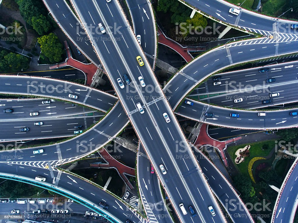 Aerial highway junction – Foto