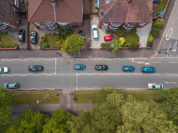 Aerial Houses Residential British England Drone Above View Summer Blue Sky Estate Agent stock photo