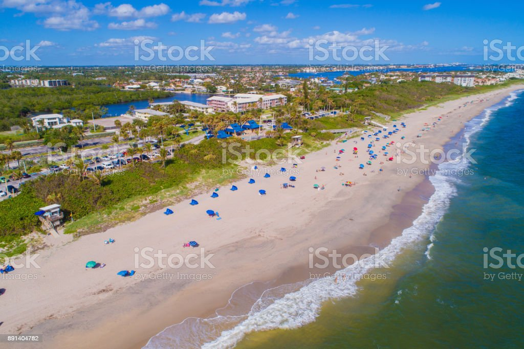 Aerial image Oceanfront Beach Park Boynton Florida stock photo