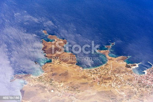 istock Aerial image of a greek island 469784186
