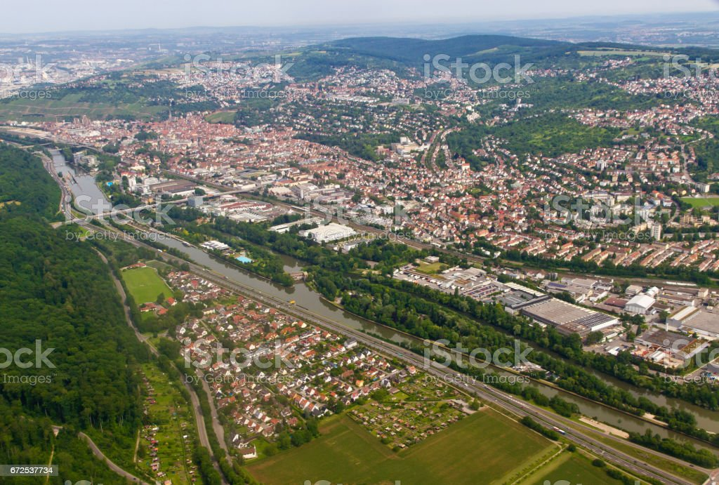 Aerial image of a industrial area near Esslingen am Neckar stock photo