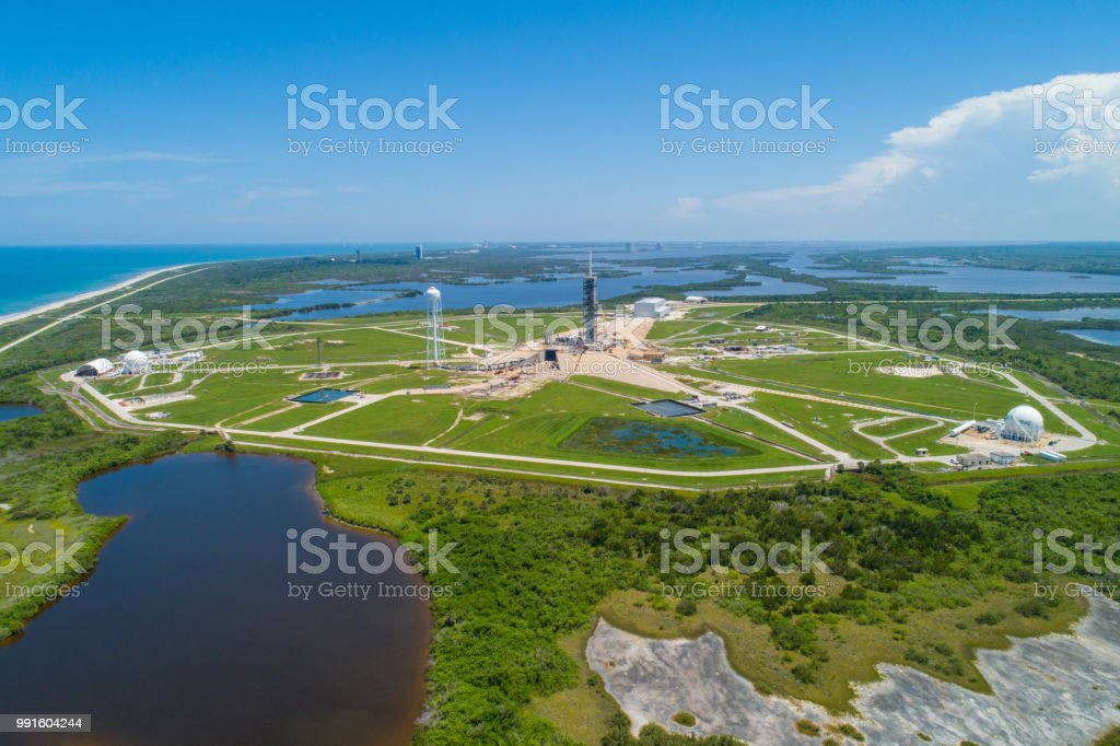 Aerial image of a space rocket launch site stock photo