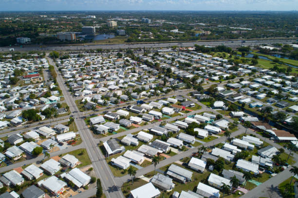Aerial image of a trailer park Stock photo of a trailer park Davie Florida manufactured housing stock pictures, royalty-free photos & images