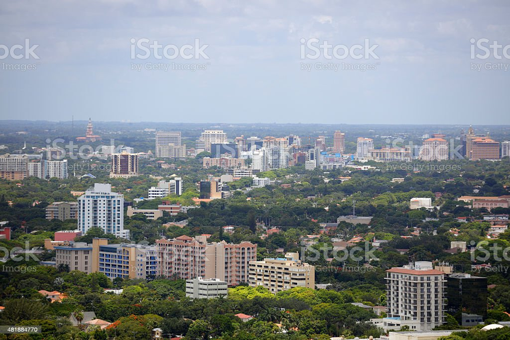 Aerial image of Coral Gables FL stock photo