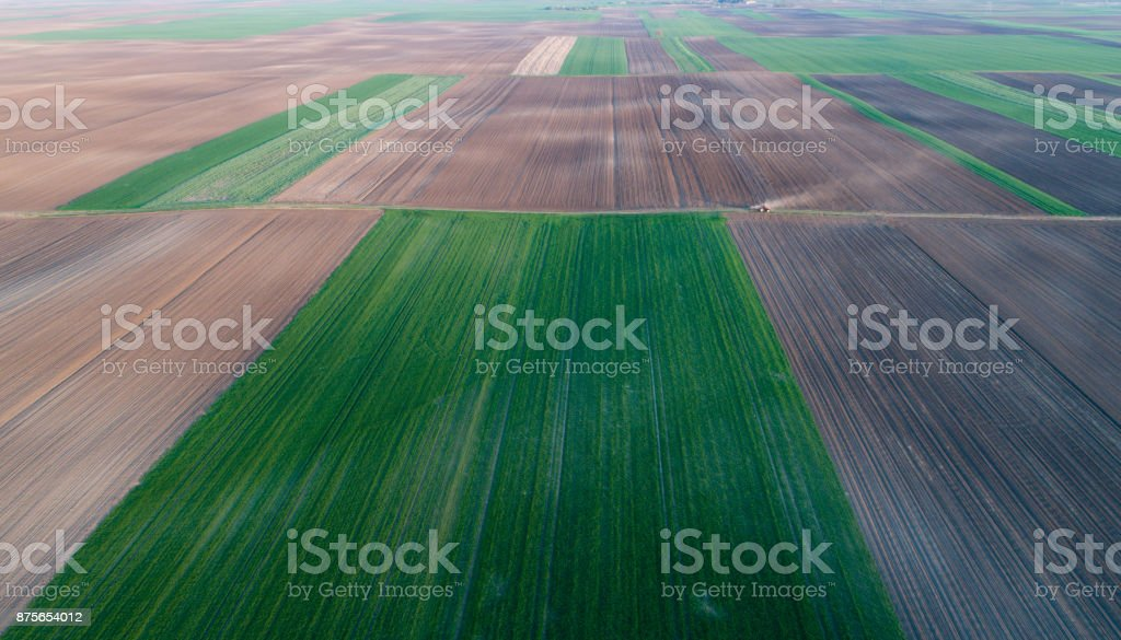 Aerial image of cultivated field stock photo