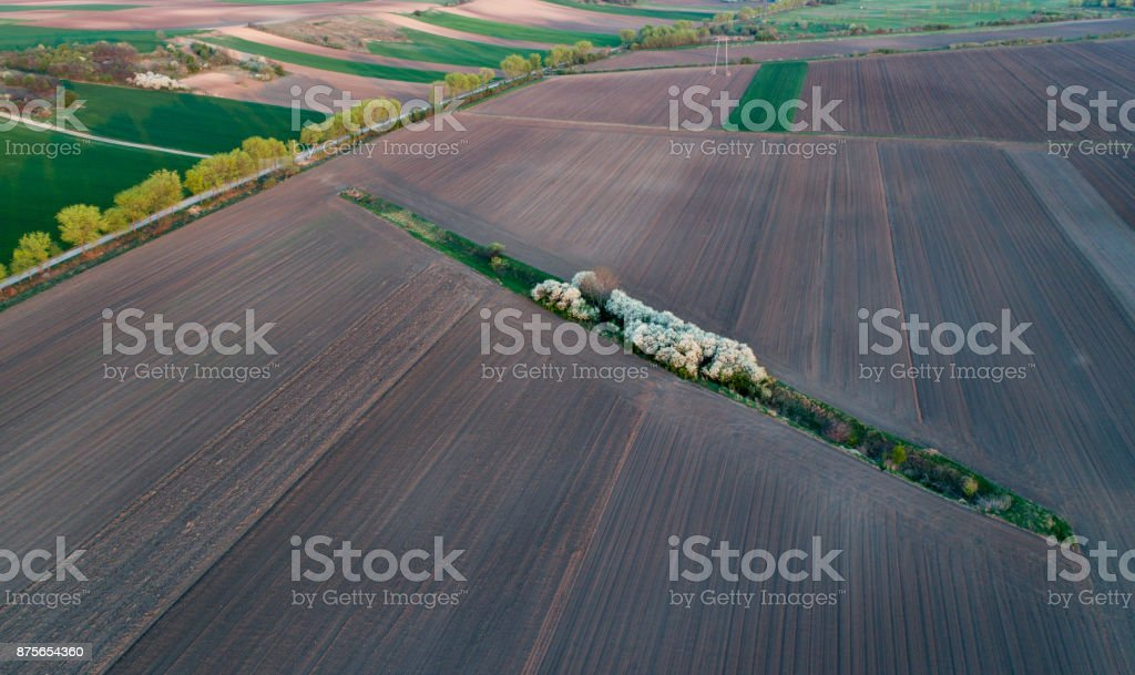 Aerial image of cultivated land stock photo